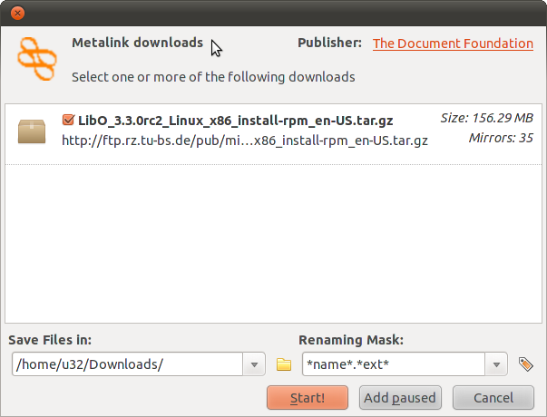 Metalink downloads — Download selection